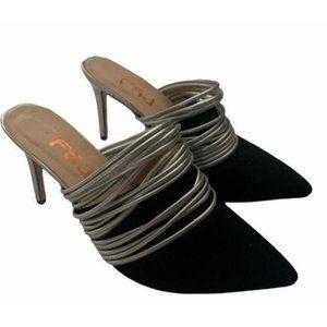 FSJ Black Pointed Toe Mule Heels Stiletto Heels Su